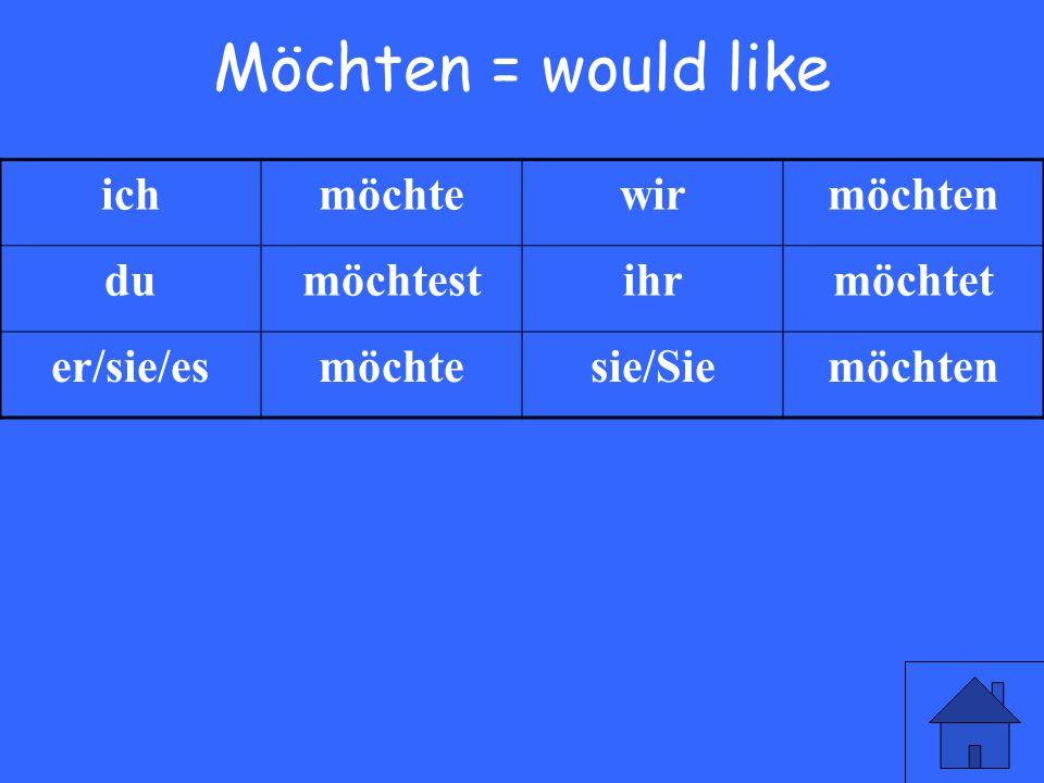 3 Möchten = would like ichmöchtewirmöchten dumöchtestihrmöchtet er/sie/esmöchtesie/Siemöchten
