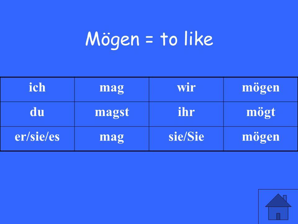 9 Mögen = to like ichmagwirmögen dumagstihrmögt er/sie/esmagsie/Siemögen