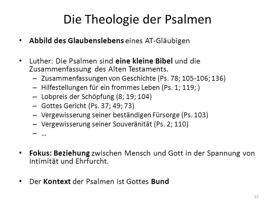 Die Theologie der Psalmen Abbild des Glaubenslebens eines AT-Gläubigen Luther: Die Psalmen sind eine kleine Bibel und die Zusammenfassung des Alten Te