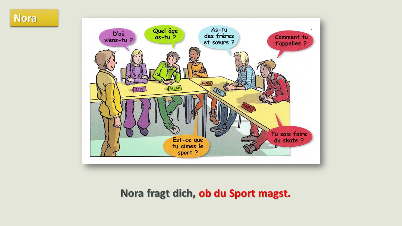 NoraNora Nora fragt dich, ob du Sport magst.