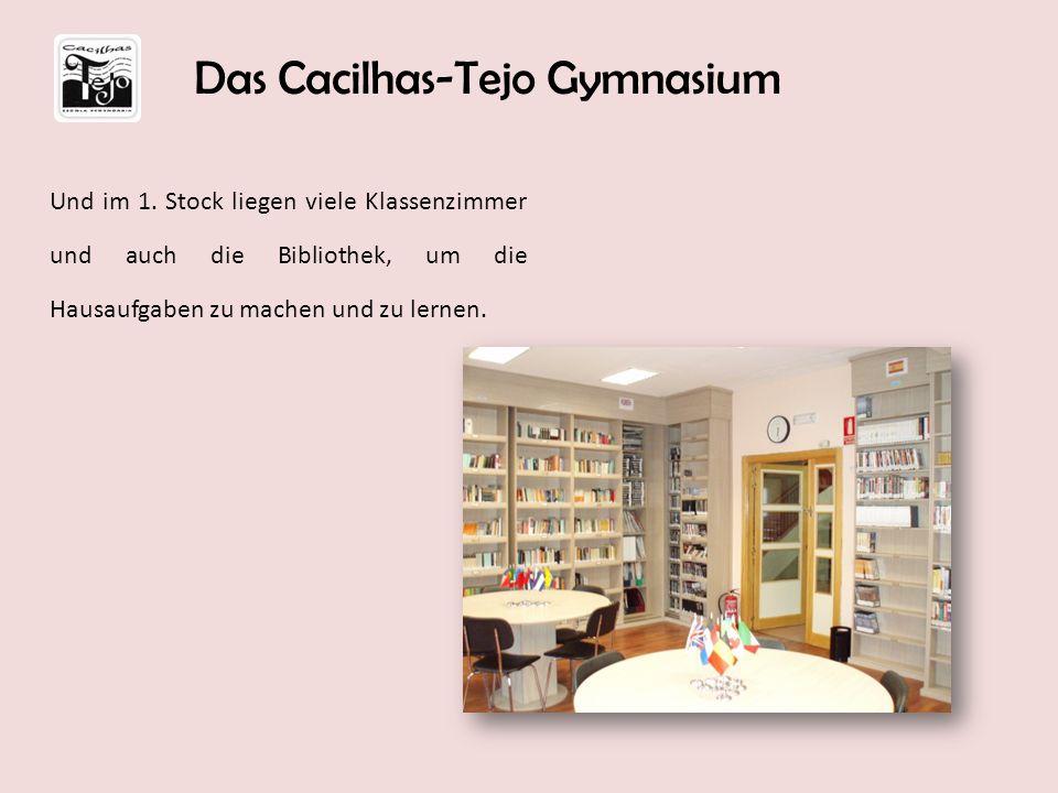 Und im 1. Stock liegen viele Klassenzimmer und auch die Bibliothek, um die Hausaufgaben zu machen und zu lernen. Das Cacilhas-Tejo Gymnasium