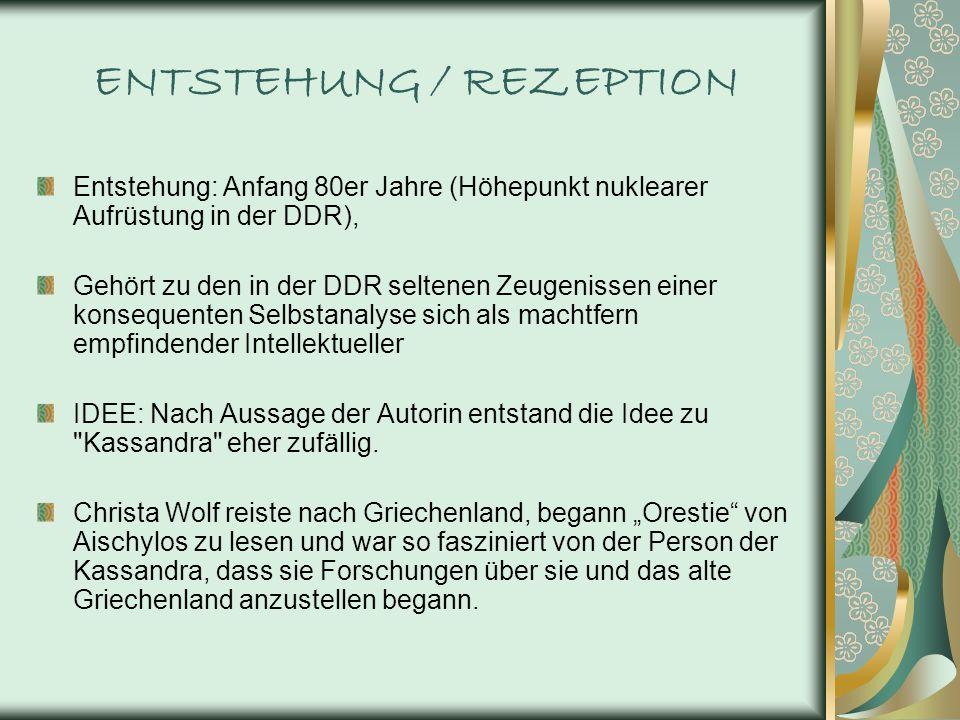 ENTSTEHUNG / REZEPTION Entstehung: Anfang 80er Jahre (Höhepunkt nuklearer Aufrüstung in der DDR), Gehört zu den in der DDR seltenen Zeugenissen einer