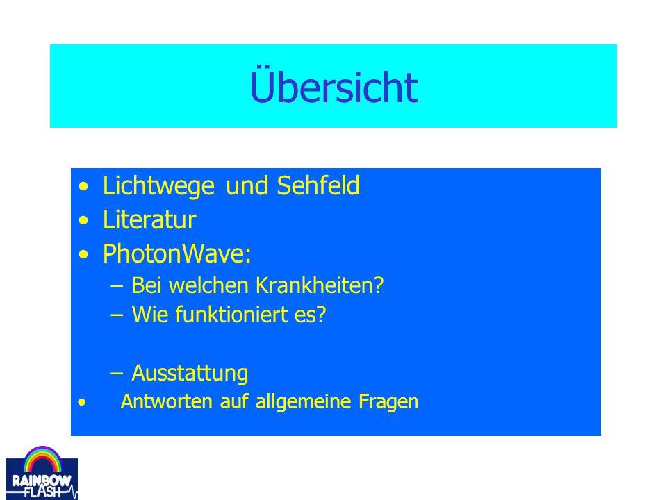 Übersicht Lichtwege und Sehfeld Literatur PhotonWave: –Bei welchen Krankheiten? –Wie funktioniert es? –Ausstattung Antworten auf allgemeine Fragen