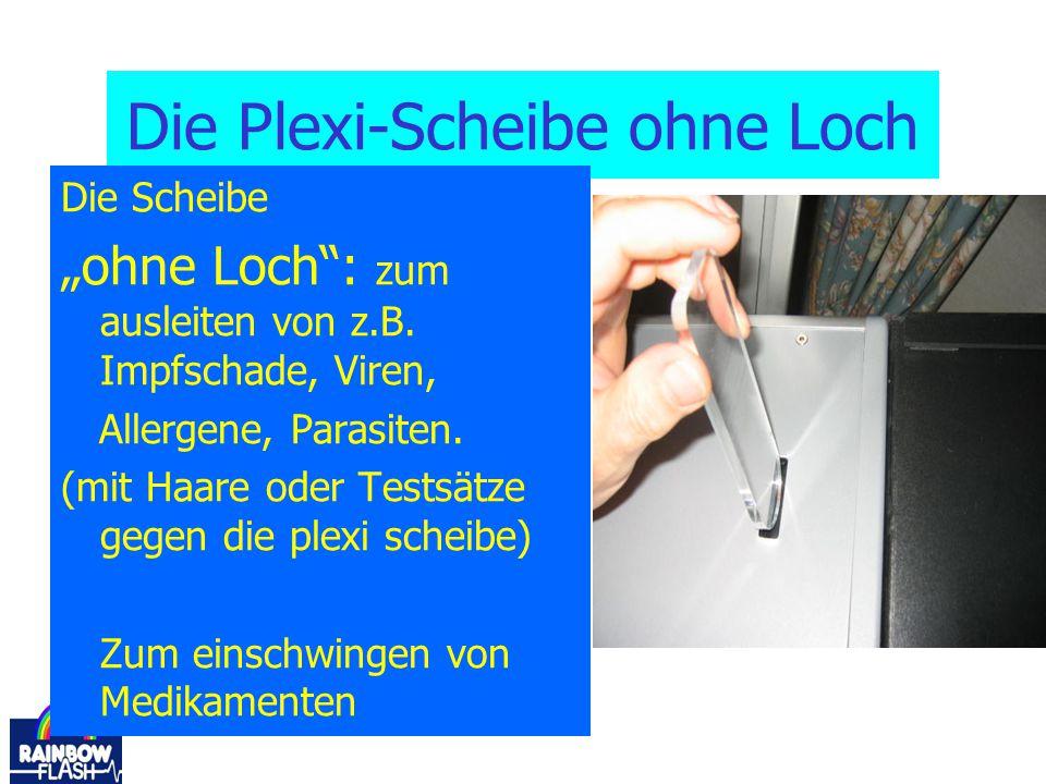 """Die Plexi-Scheibe ohne Loch Die Scheibe """"ohne Loch"""": zum ausleiten von z.B. Impfschade, Viren, Allergene, Parasiten. (mit Haare oder Testsätze gegen d"""