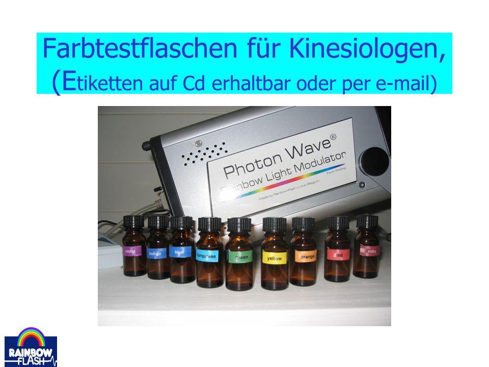Farbtestflaschen für Kinesiologen, (E tiketten auf Cd erhaltbar oder per e-mail)