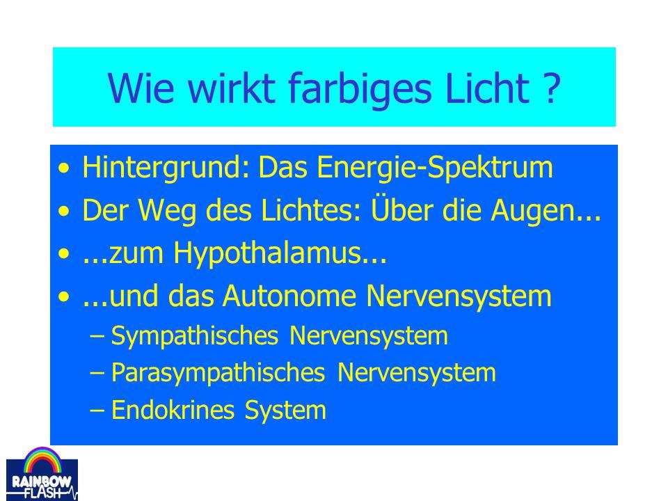 Wie wirkt farbiges Licht ? Hintergrund: Das Energie-Spektrum Der Weg des Lichtes: Über die Augen......zum Hypothalamus......und das Autonome Nervensys