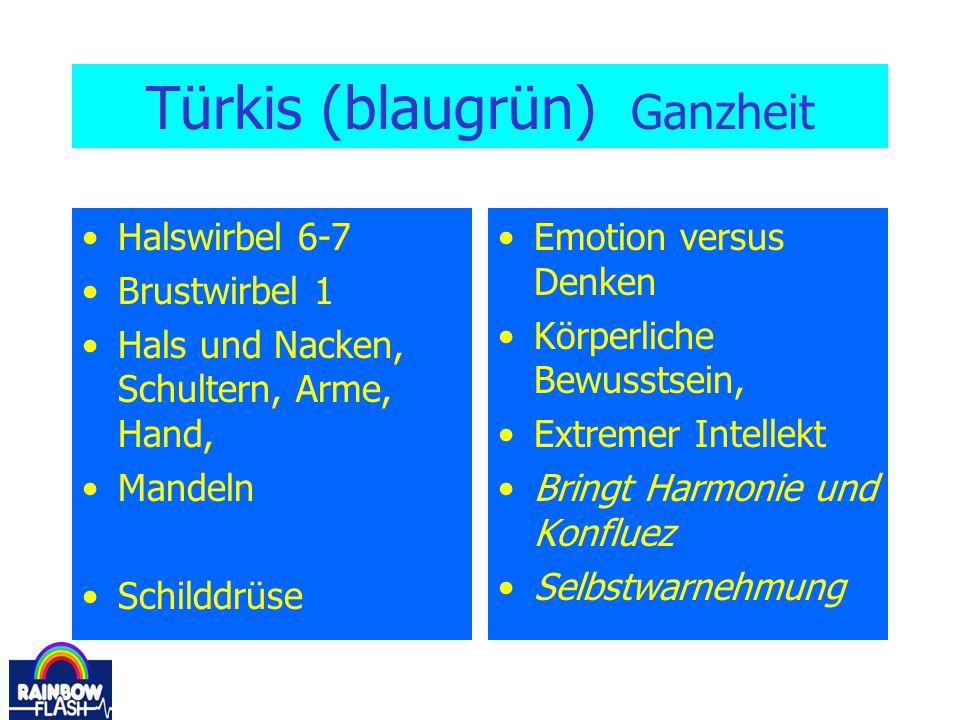 Türkis (blaugrün) Ganzheit Halswirbel 6-7 Brustwirbel 1 Hals und Nacken, Schultern, Arme, Hand, Mandeln Schilddrüse Emotion versus Denken Körperliche