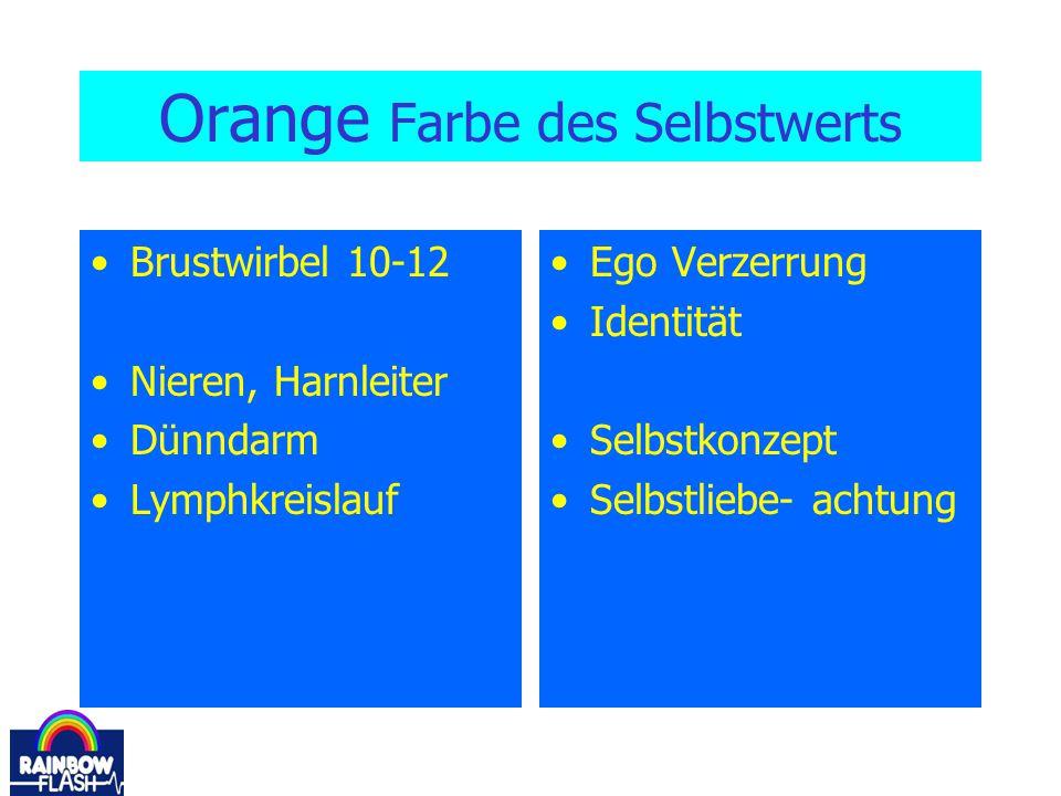Orange Farbe des Selbstwerts Brustwirbel 10-12 Nieren, Harnleiter Dünndarm Lymphkreislauf Ego Verzerrung Identität Selbstkonzept Selbstliebe- achtung