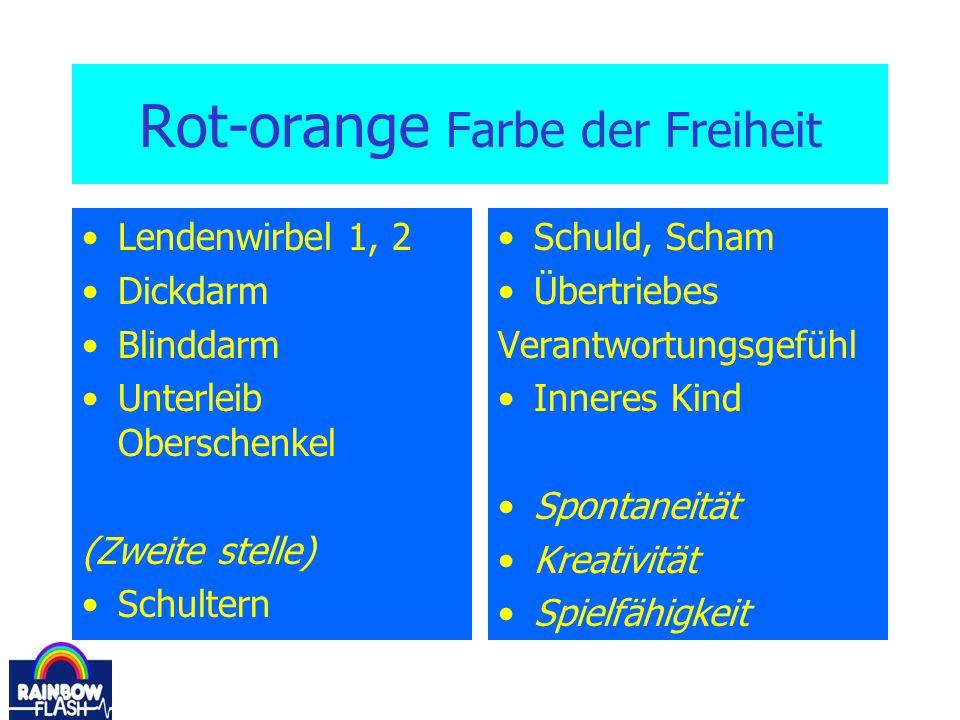 Rot-orange Farbe der Freiheit Lendenwirbel 1, 2 Dickdarm Blinddarm Unterleib Oberschenkel (Zweite stelle) Schultern Schuld, Scham Übertriebes Verantwo
