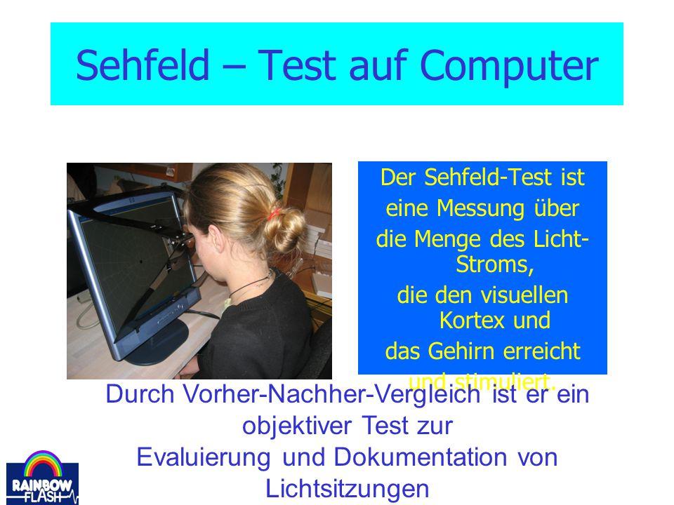 Sehfeld – Test auf Computer Der Sehfeld-Test ist eine Messung über die Menge des Licht- Stroms, die den visuellen Kortex und das Gehirn erreicht und s