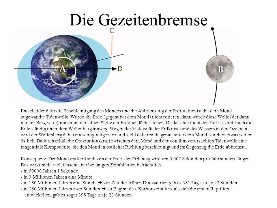 Die Gezeitenbremse Entscheidend für die Beschleunigung des Mondes und die Abbremsung der Erdrotation ist die dem Mond zugewandte Tidenwelle. Würde die