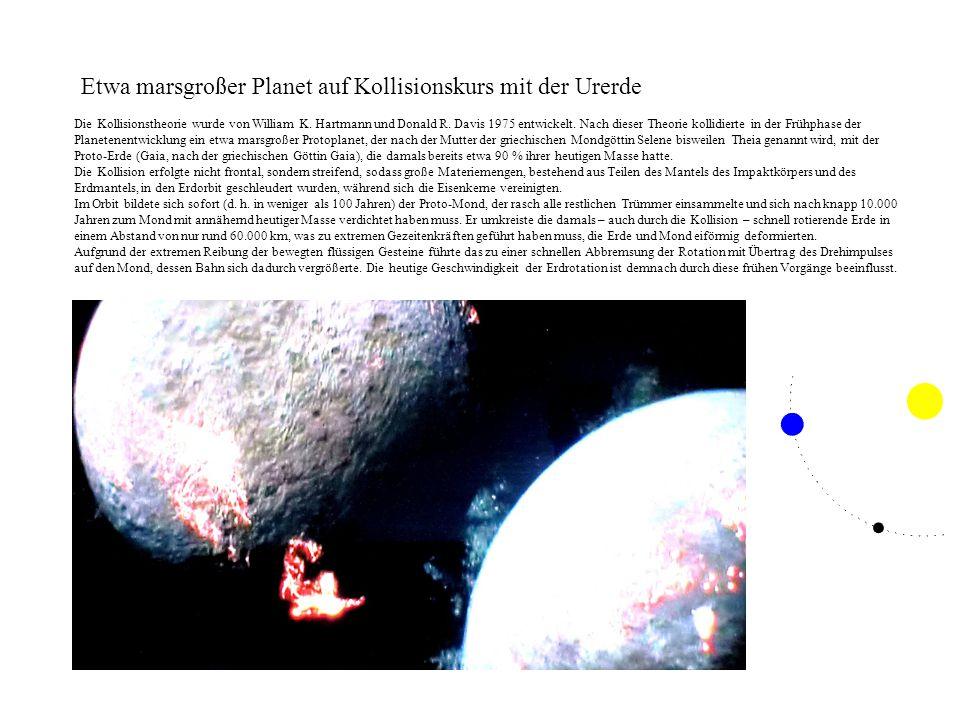 Etwa marsgroßer Planet auf Kollisionskurs mit der Urerde Die Kollisionstheorie wurde von William K. Hartmann und Donald R. Davis 1975 entwickelt. Nach