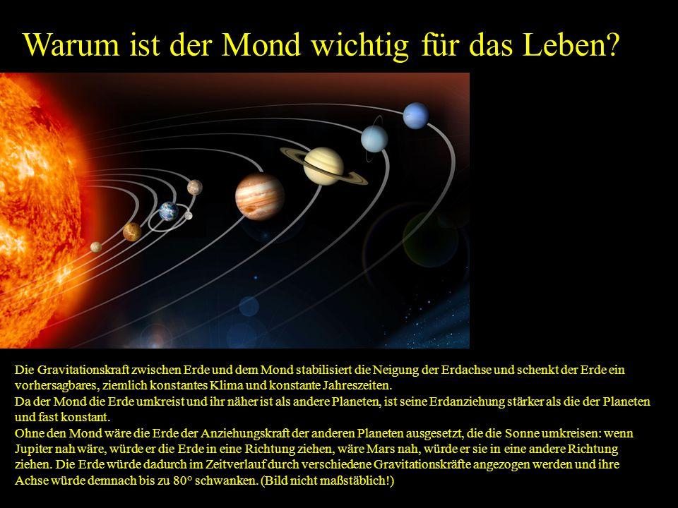 Warum ist der Mond wichtig für das Leben? Die Gravitationskraft zwischen Erde und dem Mond stabilisiert die Neigung der Erdachse und schenkt der Erde