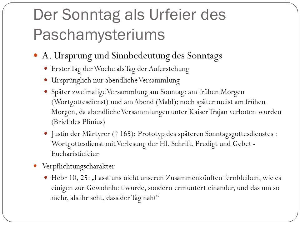 Der Sonntag als Urfeier des Paschamysteriums A.