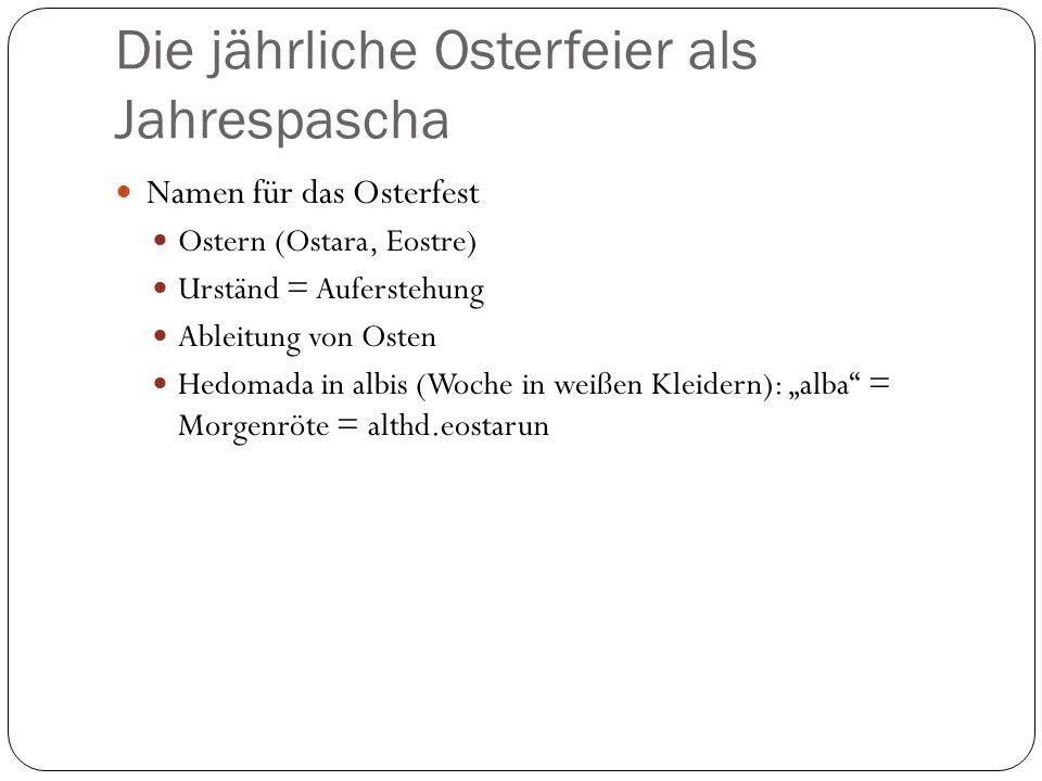 """Die jährliche Osterfeier als Jahrespascha Namen für das Osterfest Ostern (Ostara, Eostre) Urständ = Auferstehung Ableitung von Osten Hedomada in albis (Woche in weißen Kleidern): """"alba = Morgenröte = althd.eostarun"""