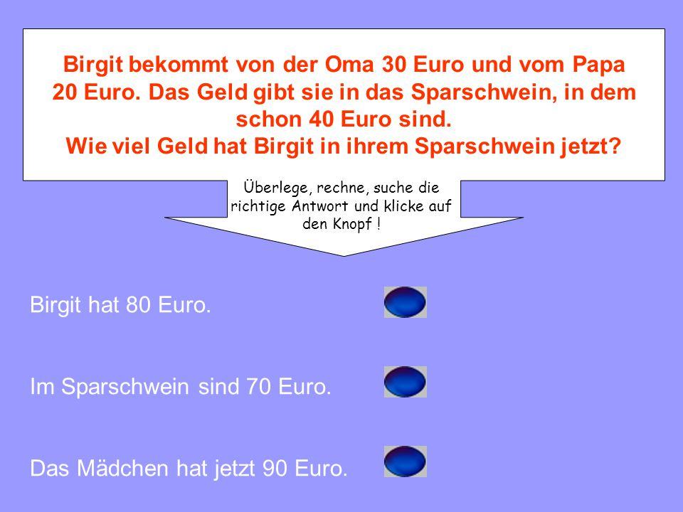 Birgit bekommt von der Oma 30 Euro und vom Papa 20 Euro.