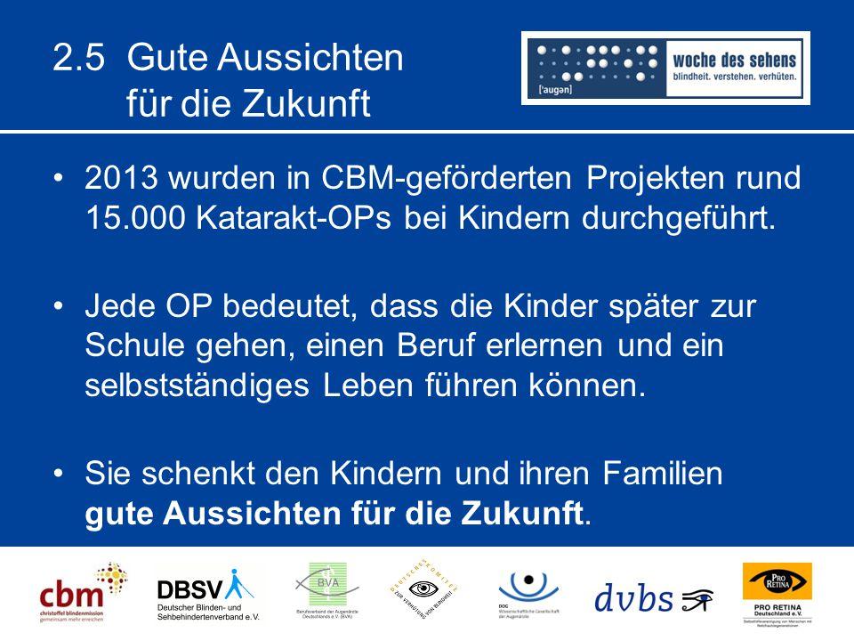 2.5 Gute Aussichten für die Zukunft 2013 wurden in CBM-geförderten Projekten rund 15.000 Katarakt-OPs bei Kindern durchgeführt. Jede OP bedeutet, dass