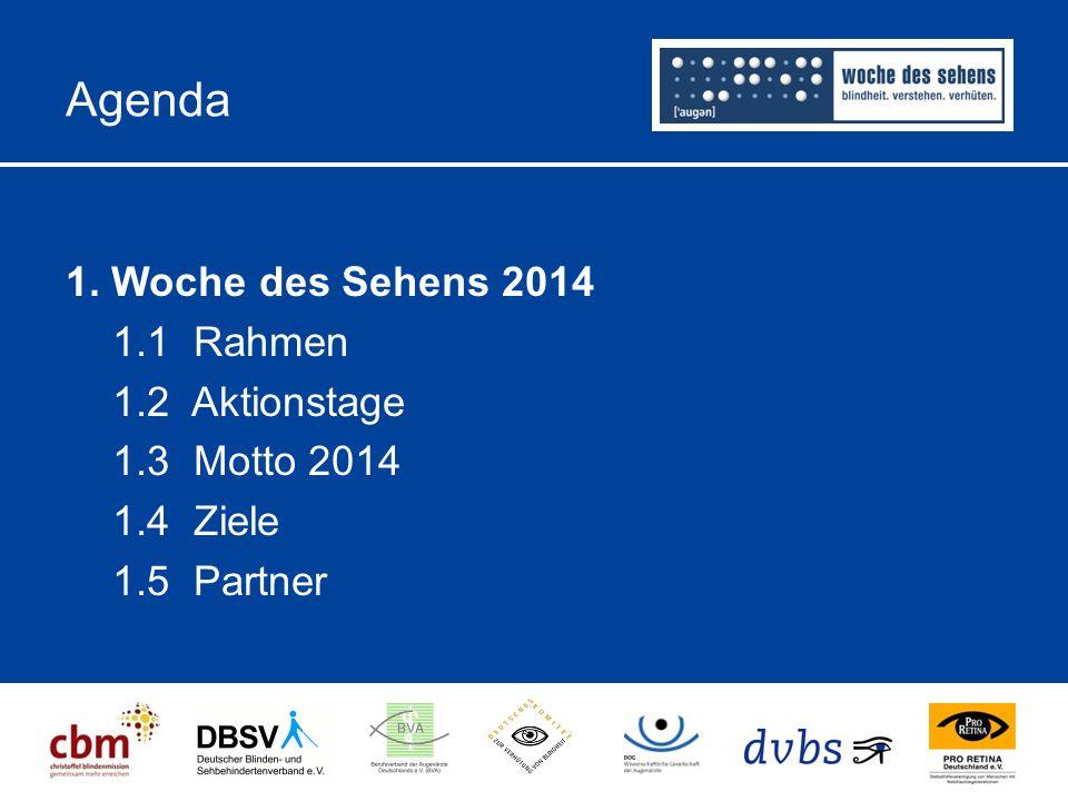 Agenda 1. Woche des Sehens 2014 1.1 Rahmen 1.2 Aktionstage 1.3 Motto 2014 1.4 Ziele 1.5 Partner