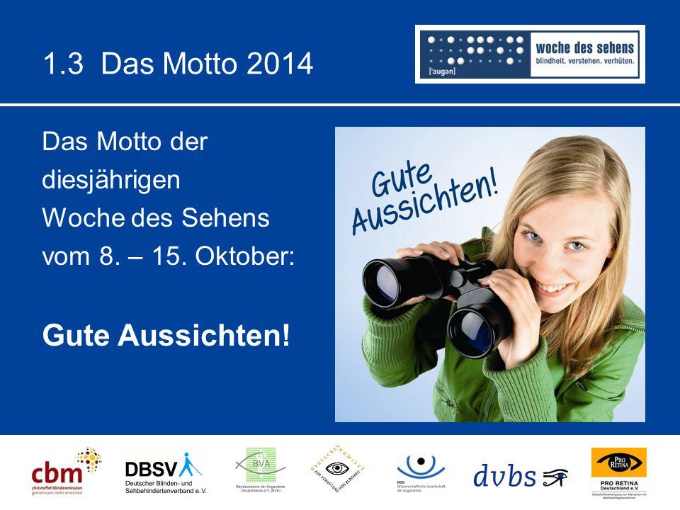 1.3 Das Motto 2014 Das Motto der diesjährigen Woche des Sehens vom 8. – 15. Oktober: Gute Aussichten!