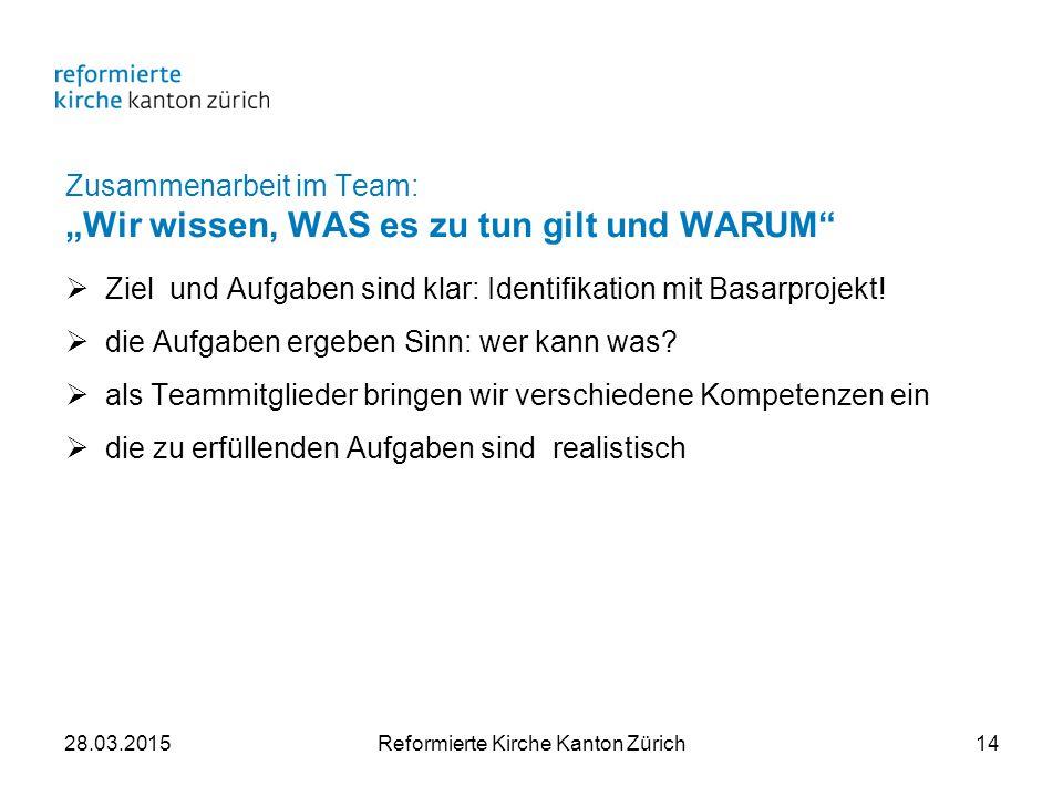 """Zusammenarbeit im Team: """"Wir wissen, WAS es zu tun gilt und WARUM  Ziel und Aufgaben sind klar: Identifikation mit Basarprojekt."""
