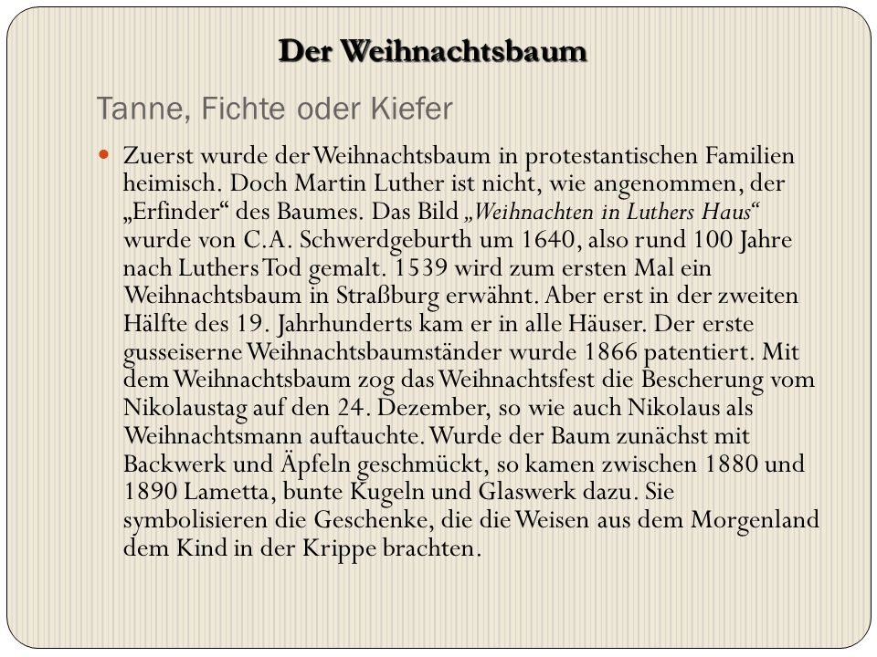 """Tanne, Fichte oder Kiefer Zuerst wurde der Weihnachtsbaum in protestantischen Familien heimisch. Doch Martin Luther ist nicht, wie angenommen, der """"Er"""