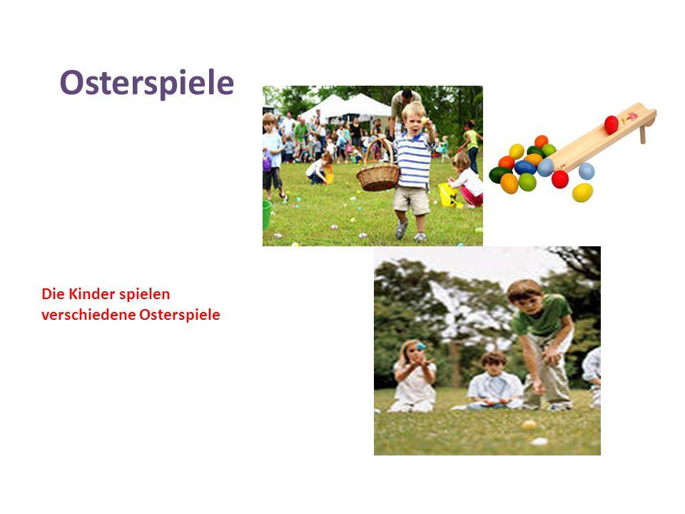 Osterspiele Die Kinder spielen verschiedene Osterspiele