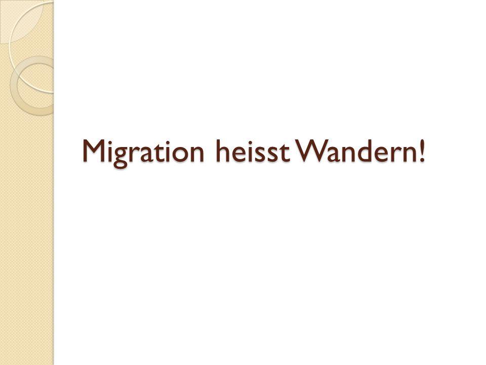 Migration heisst Wandern!