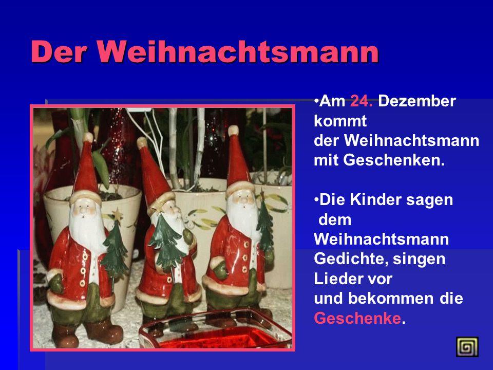Weihnachtsgeschenke Am Weihnachtsabend schenkt man Geschenke. Sie liegen unter dem Tannenbaum. Die Kinderdenken, das die Geschenke der Weihnachtsmann