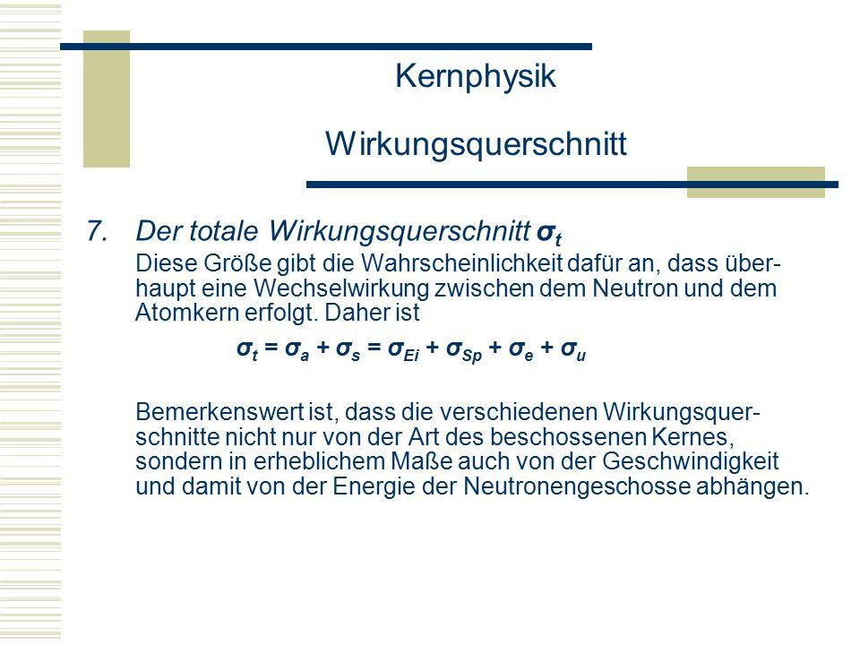 Kernphysik Wirkungsquerschnitt 7.Der totale Wirkungsquerschnitt σ t Diese Größe gibt die Wahrscheinlichkeit dafür an, dass über- haupt eine Wechselwirkung zwischen dem Neutron und dem Atomkern erfolgt.
