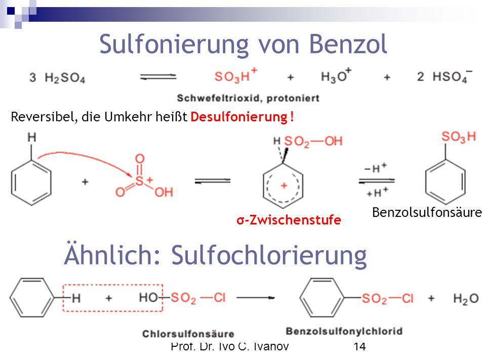 Prof. Dr. Ivo C. Ivanov14 Sulfonierung von Benzol Benzolsulfonsäure Reversibel, die Umkehr heißt Desulfonierung ! σ-Zwischenstufe Ähnlich: Sulfochlori