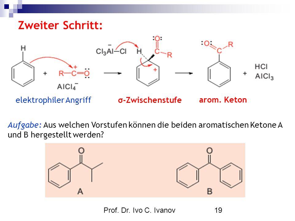 Prof. Dr. Ivo C. Ivanov19 Zweiter Schritt: elektrophiler Angriffσ-Zwischenstufe arom. Keton Aufgabe: Aus welchen Vorstufen können die beiden aromatisc