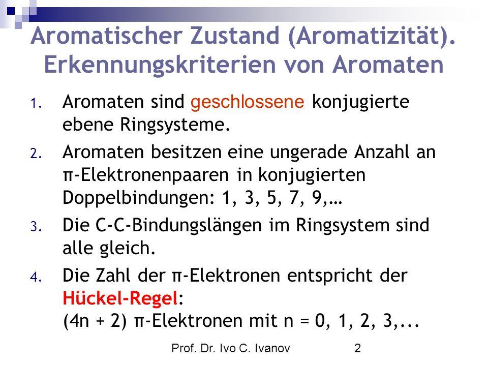 Prof. Dr. Ivo C. Ivanov2 Aromatischer Zustand (Aromatizität). Erkennungskriterien von Aromaten 1. Aromaten sind geschlossene konjugierte ebene Ringsys
