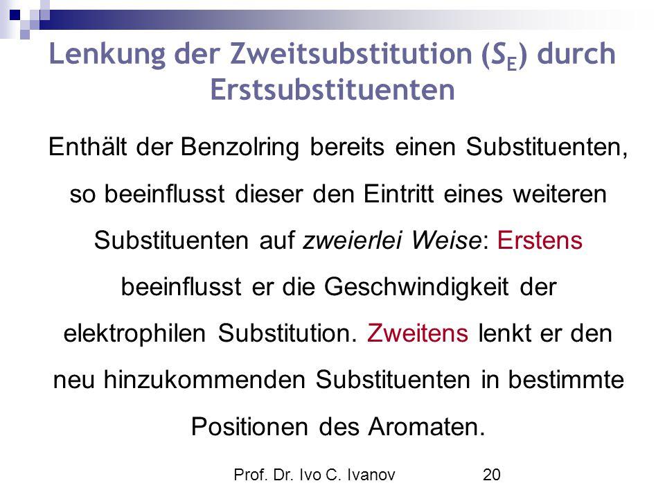 Prof. Dr. Ivo C. Ivanov20 Enthält der Benzolring bereits einen Substituenten, so beeinflusst dieser den Eintritt eines weiteren Substituenten auf zwei