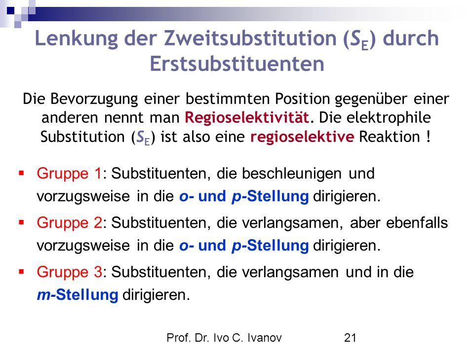 Prof. Dr. Ivo C. Ivanov21 Lenkung der Zweitsubstitution (S E ) durch Erstsubstituenten  Gruppe 1: Substituenten, die beschleunigen und vorzugsweise i
