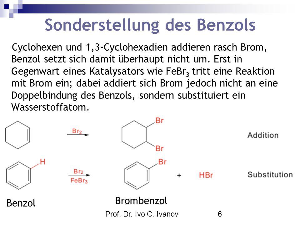 Prof. Dr. Ivo C. Ivanov6 Sonderstellung des Benzols Cyclohexen und 1,3-Cyclohexadien addieren rasch Brom, Benzol setzt sich damit überhaupt nicht um.