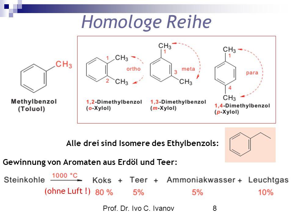 Prof. Dr. Ivo C. Ivanov8 Homologe Reihe Alle drei sind Isomere des Ethylbenzols: Gewinnung von Aromaten aus Erdöl und Teer: (ohne Luft !)