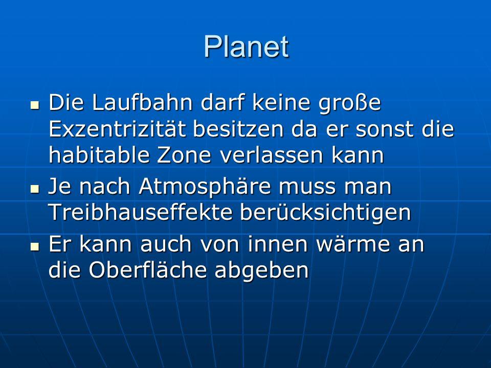 Planet Die Laufbahn darf keine große Exzentrizität besitzen da er sonst die habitable Zone verlassen kann Die Laufbahn darf keine große Exzentrizität