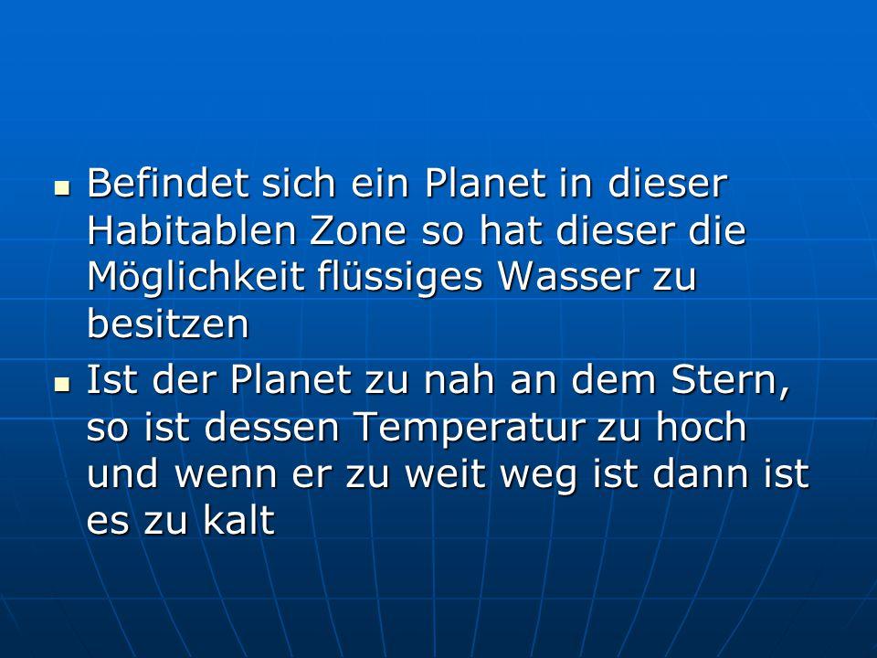 Befindet sich ein Planet in dieser Habitablen Zone so hat dieser die M ö glichkeit fl ü ssiges Wasser zu besitzen Befindet sich ein Planet in dieser H