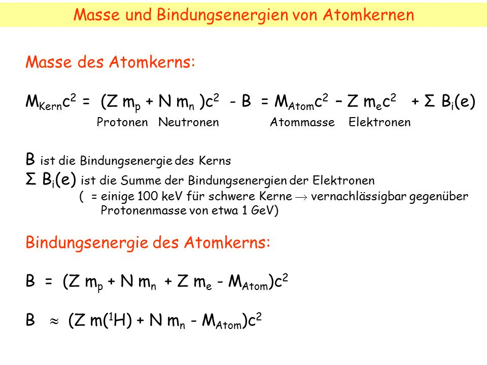 Masse und Bindungsenergien von Atomkernen Masse des Atomkerns: M Kern c 2 = (Z m p + N m n )c 2 - B = M Atom c 2 – Z m e c 2 + Σ B i (e) Protonen Neut