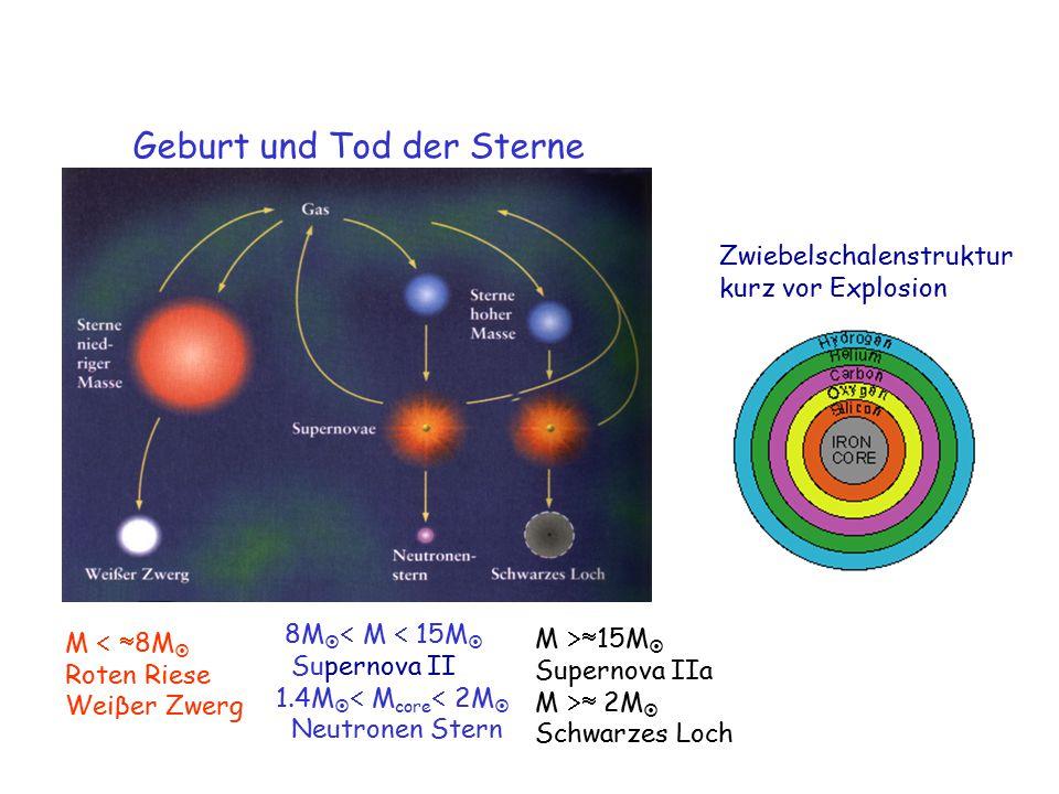 M   8M  Roten Riese Weiβer Zwerg Zwiebelschalenstruktur kurz vor Explosion Geburt und Tod der Sterne 8M   M  15M  Supernova II 1.4M   M core