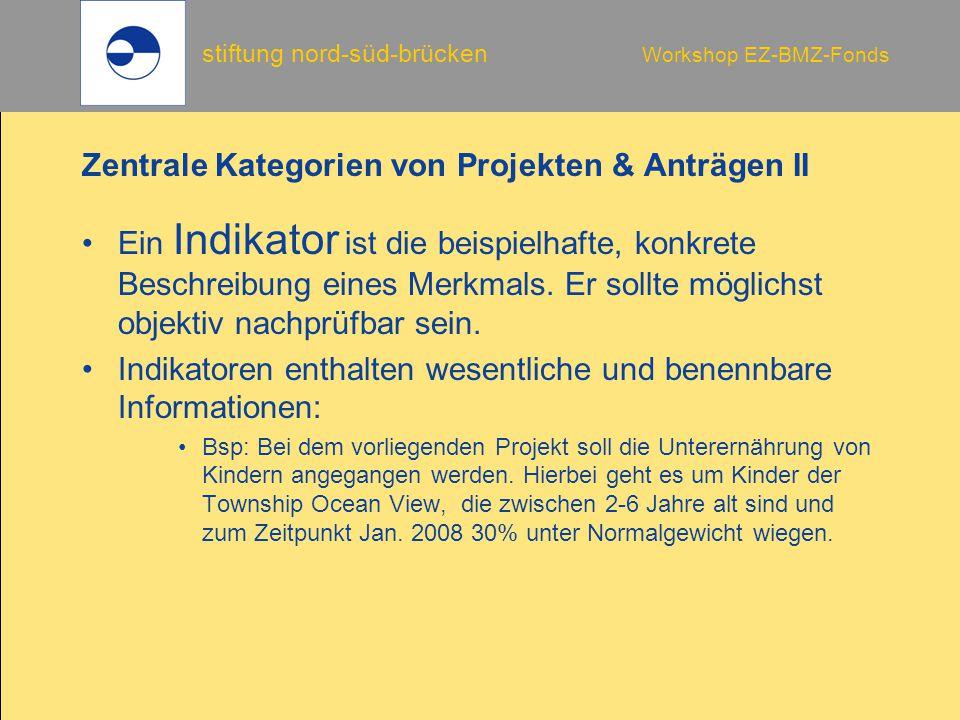 stiftung nord-süd-brücken Workshop EZ-BMZ-Fonds Zentrale Kategorien von Projekten & Anträgen II Ein Indikator ist die beispielhafte, konkrete Beschreibung eines Merkmals.