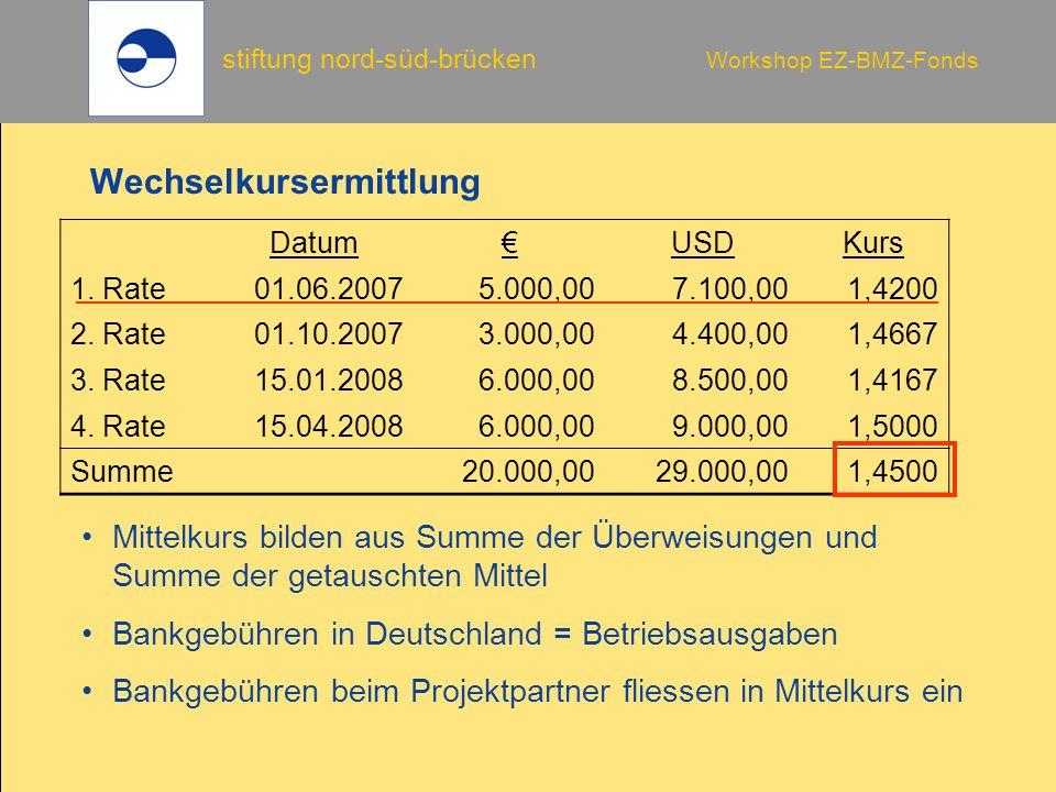 stiftung nord-süd-brücken Workshop EZ-BMZ-Fonds Wechselkursermittlung Datum€USDKurs 1. Rate01.06.20075.000,007.100,001,4200 2. Rate01.10.20073.000,004