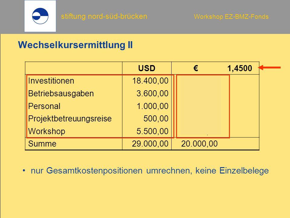 stiftung nord-süd-brücken Workshop EZ-BMZ-Fonds Wechselkursermittlung II USD€1,4500 Investitionen18.400,0012.689,66 Betriebsausgaben3.600,002.482,76 Personal1.000,00689,66 Projektbetreuungsreise500,00344,83 Workshop5.500,003.793,10 Summe 29.000,0020.000,00 nur Gesamtkostenpositionen umrechnen, keine Einzelbelege