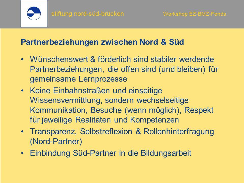 stiftung nord-süd-brücken Workshop EZ-BMZ-Fonds Mitteltransfer -Überweisung -Bankscheck -Bargeld Zu beachten ist: -Meldepflichten nach Außenwirtschaftsgesetz (ab 12.500.- €) -Bankgebühren in Deutschland: Betriebsausgaben -Bankgebühren des Partners: verrechnet über den Wechselkurs