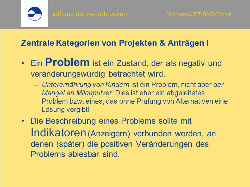 stiftung nord-süd-brücken Workshop EZ-BMZ-Fonds Zentrale Kategorien von Projekten & Anträgen I Ein Problem ist ein Zustand, der als negativ und veränd