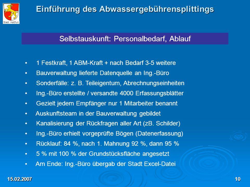 Einführung des Abwassergebührensplittings 15.02.2007 Selbstauskunft: Personalbedarf, Ablauf 1 Festkraft, 1 ABM-Kraft + nach Bedarf 3-5 weitere Bauverw