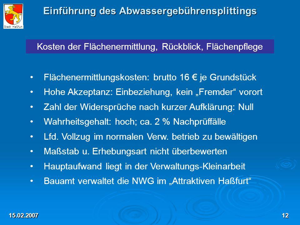 Einführung des Abwassergebührensplittings 15.02.2007 Kosten der Flächenermittlung, Rückblick, Flächenpflege Flächenermittlungskosten: brutto 16 € je G