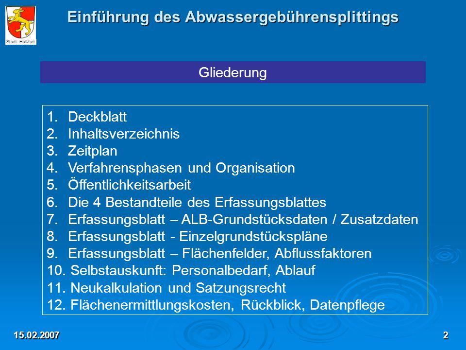 15.02.2007 Gliederung 1.Deckblatt 2. Inhaltsverzeichnis 3.