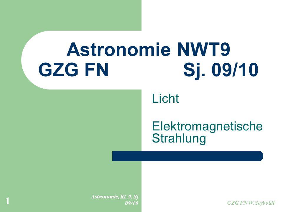 Astronomie, Kl. 9, Sj 09/10 GZG FN W.Seyboldt 1 Astronomie NWT9 GZG FN Sj. 09/10 Licht Elektromagnetische Strahlung