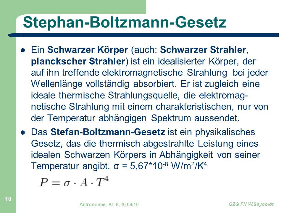 Astronomie, Kl. 9, Sj 09/10 GZG FN W.Seyboldt 10 Stephan-Boltzmann-Gesetz Ein Schwarzer Körper (auch: Schwarzer Strahler, planckscher Strahler) ist ei